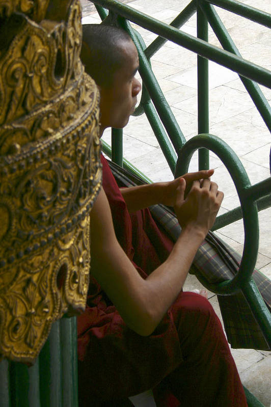 Buddhist Monk Art Print featuring the photograph Buddhist Monk Leaning Against A Pillar Sule Pagoda Central Yangon Myanar by Ralph A Ledergerber-Photography