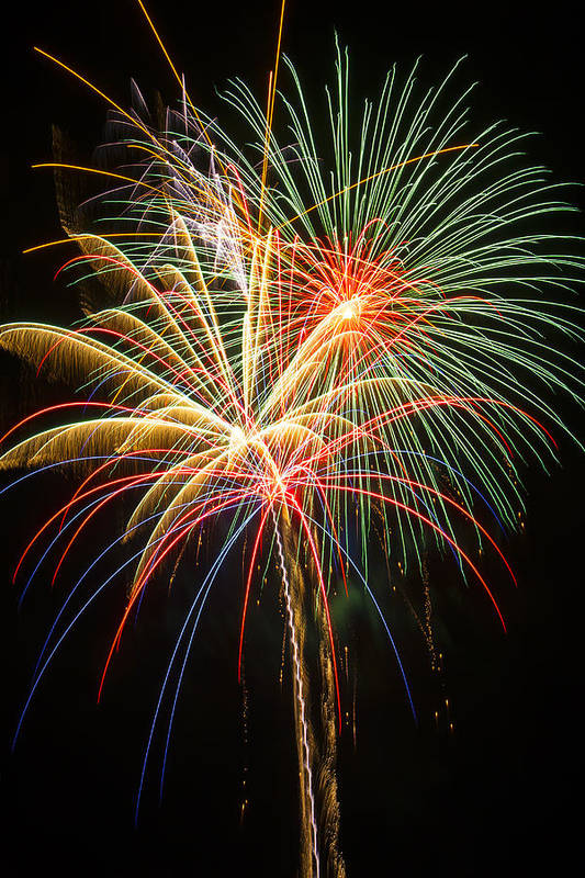 Awesome Fireworks Lights Up The Darkness Art Print featuring the photograph Bursting In Air by Garry Gay