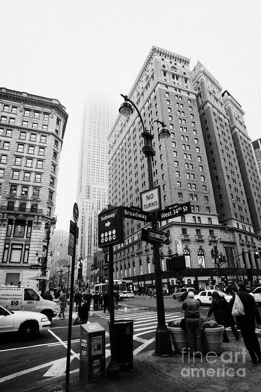 Usa Art Print featuring the photograph Busy Traffic Junction Of West 34th Street St And Broadway With Empire State Building Shrouded Mist by Joe Fox