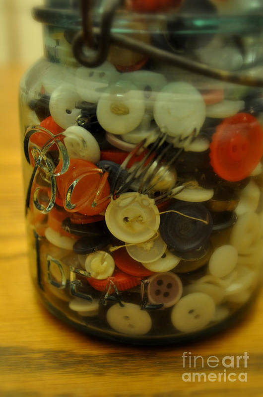 Buttons Art Print featuring the photograph Buttons And Ball by Anjanette Douglas