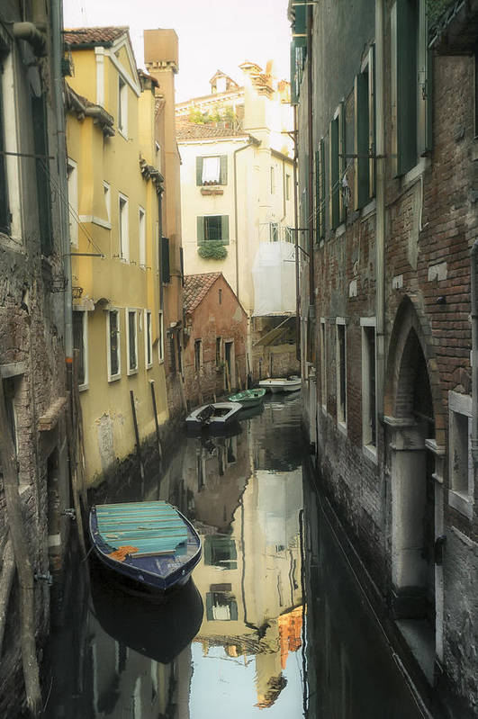 Venice Art Print featuring the photograph Canal Boats And Reflections Venice Italy by Marianne Campolongo