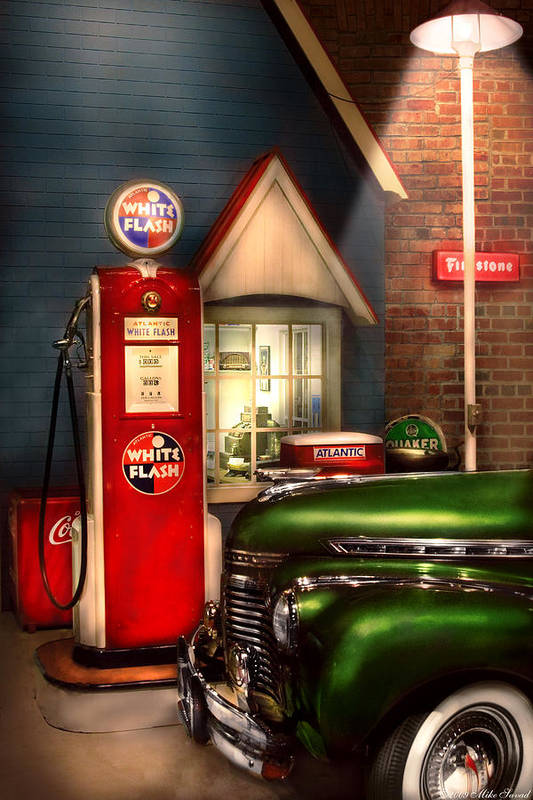 Savad Print featuring the photograph Car - Station - White Flash Gasoline by Mike Savad
