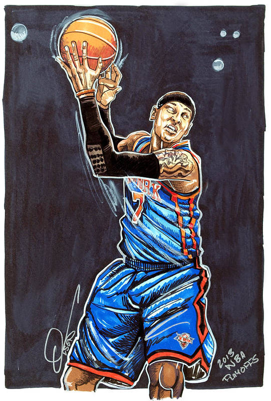 Carmelo Anthony Print featuring the drawing Carmelo Anthony by Dave Olsen