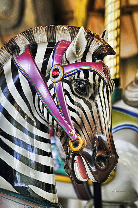 Kenny Francis Art Print featuring the photograph Carousel Zebra by Kenny Francis
