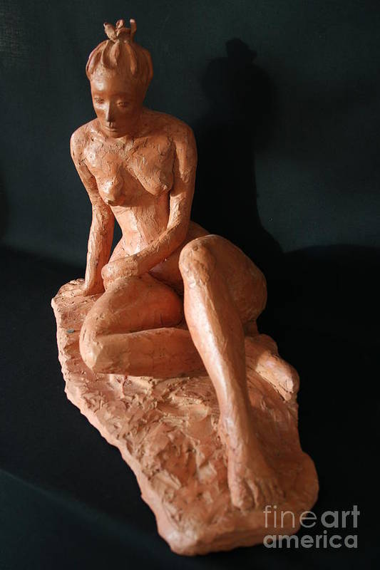 Fired Clay Sculpture Art Print featuring the sculpture Carrie - Front by Flow Fitzgerald