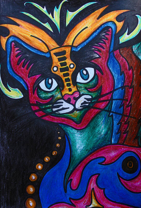Cat Art Print featuring the drawing Cat 2 by Carol Tsiatsios
