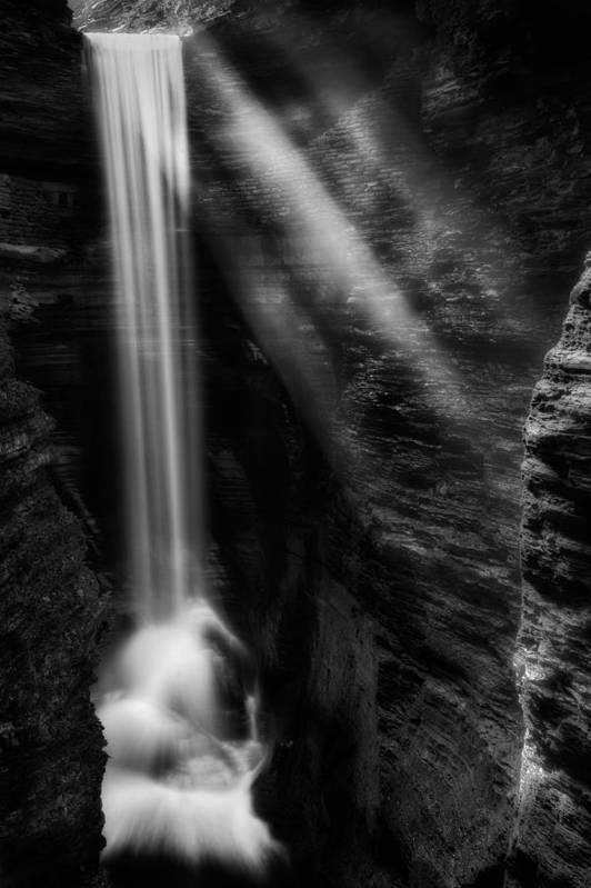 Watkins Glen Art Print featuring the photograph Cavern Cascade by Bill Wakeley