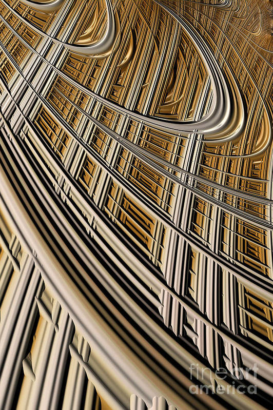Geometric Harp Art Print featuring the digital art Celestial Harp by John Edwards