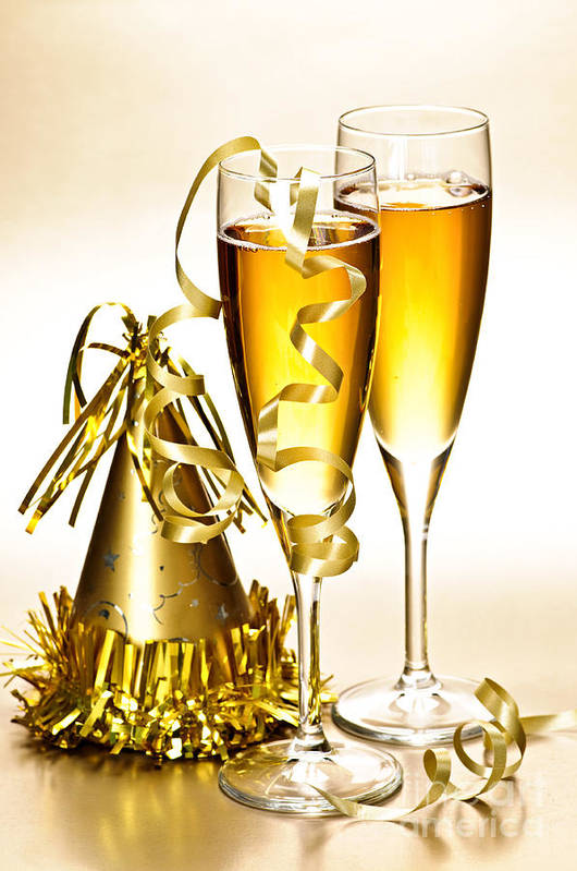 Champagne Art Print featuring the photograph Champagne And New Years Party Decorations by Elena Elisseeva