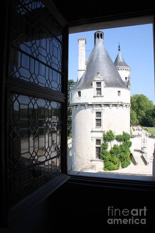 Tower Art Print featuring the photograph Chateau Chenonceau Tower Through Open Window by Christiane Schulze Art And Photography