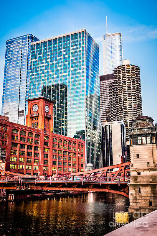 America Print featuring the photograph Chicago Downtown At Lasalle Street Bridge by Paul Velgos