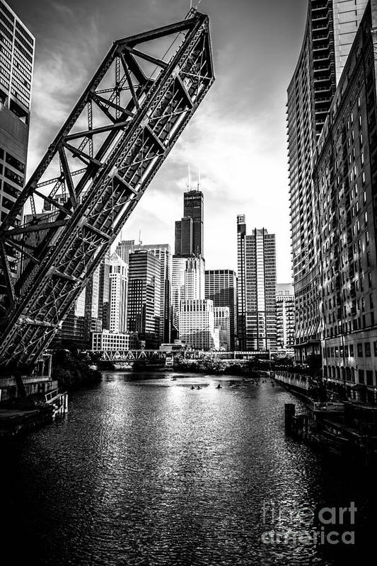 America Art Print featuring the photograph Chicago Kinzie Street Bridge Black And White Picture by Paul Velgos