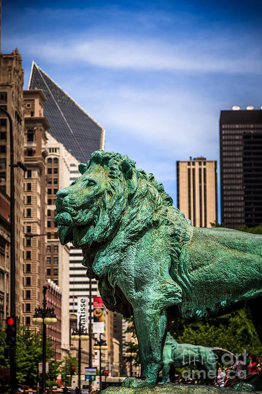 America Print featuring the photograph Chicago Lion Statues At The Art Institute by Paul Velgos