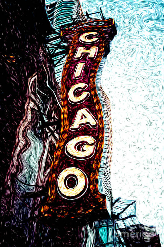 America Art Print featuring the photograph Chicago Theatre Sign Digital Art by Paul Velgos