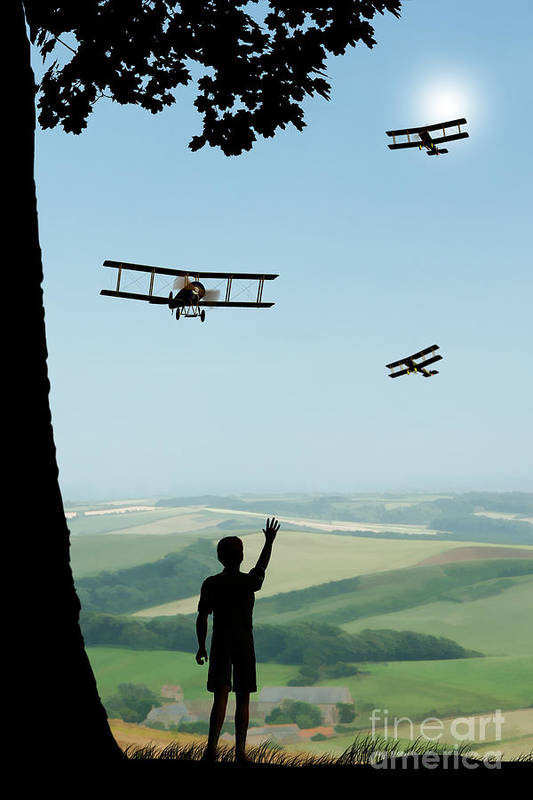 Avro 504k Flypast Art Print featuring the painting Childhood Dreams The Flypast by John Edwards