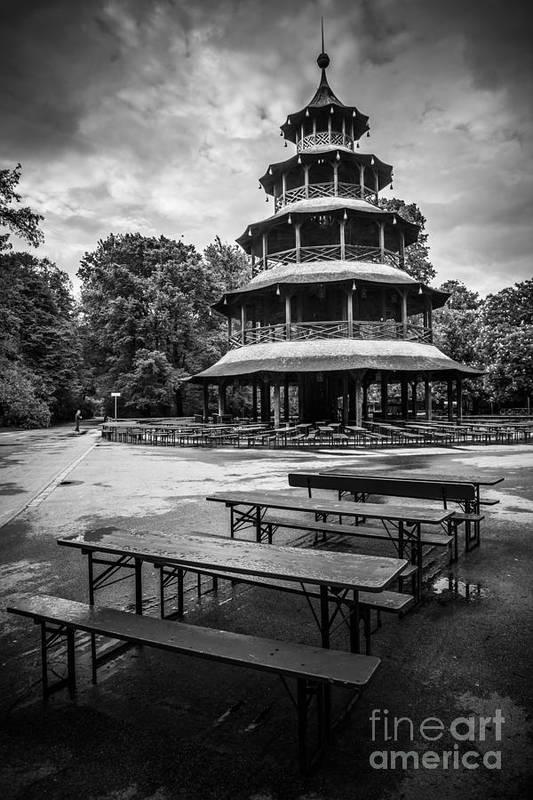 Architecture Art Print featuring the photograph Chinesischer Turm Bw by Hannes Cmarits