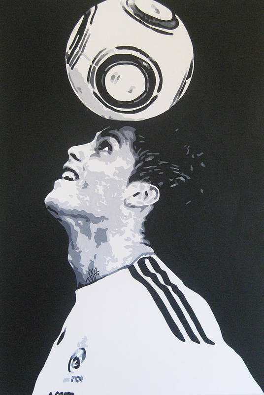 Christiano Ronaldo Art Print featuring the painting Christiano Ronaldo - Real Madrid Fc by Geo Thomson