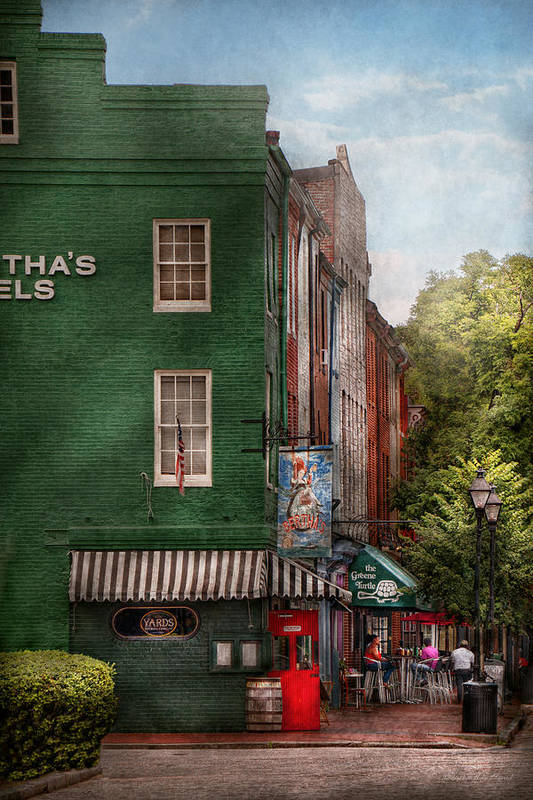 Baltimore Print featuring the photograph City - Baltimore - Fells Point Md - Bertha's And The Greene Turtle by Mike Savad