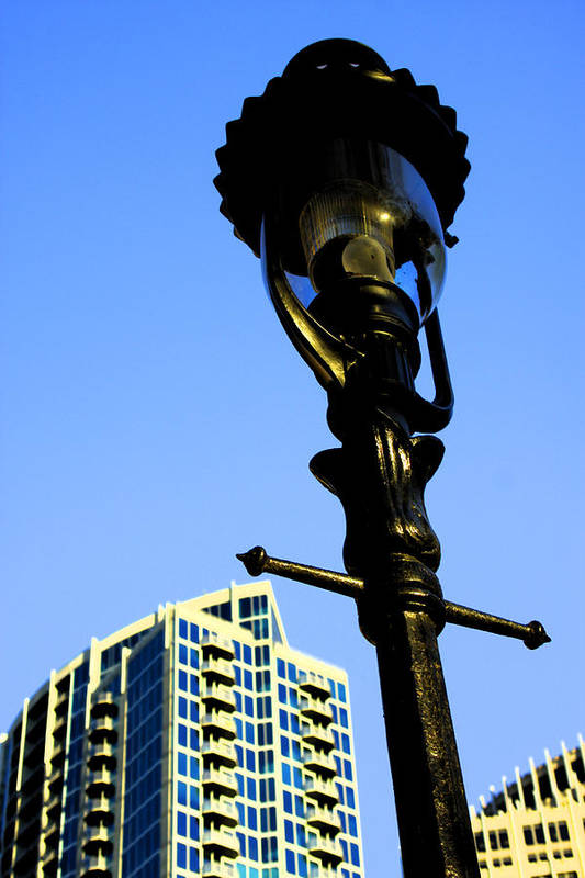 Lamp Post Art Print featuring the photograph City Lamp Post by Karol Livote