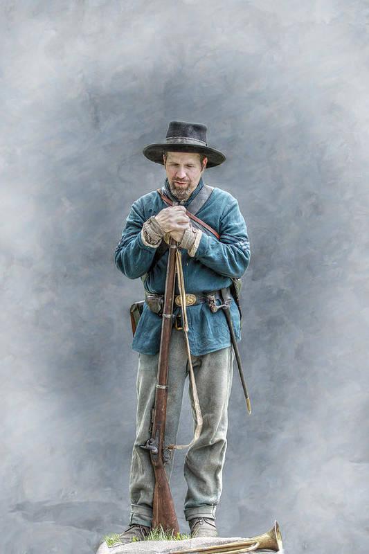 Co. F Art Print featuring the digital art Civil War Soldier Co. F 78th Pvi by Randy Steele
