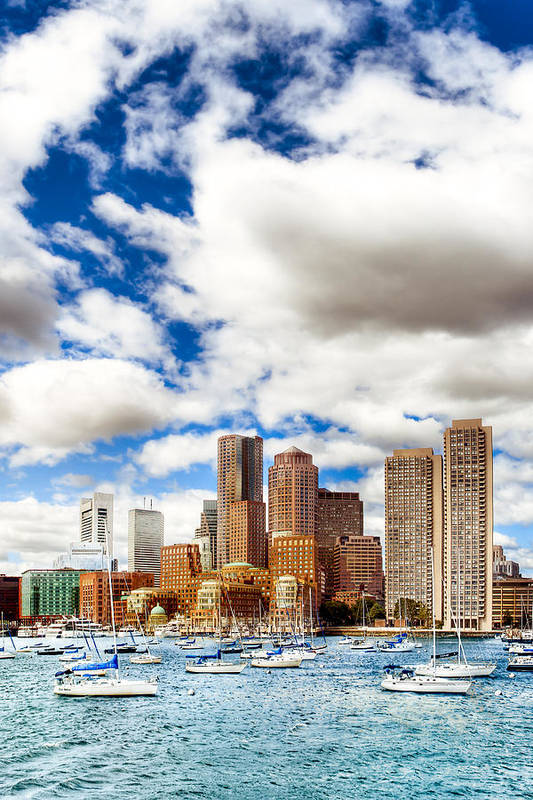 Boston Harbor Art Print featuring the photograph Classic Boston Skyline From The Water by Mark E Tisdale