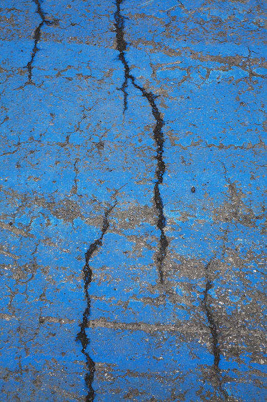 Outdoors Print featuring the photograph Close Up Of Cracks On A Blue Painted by Perry Mastrovito