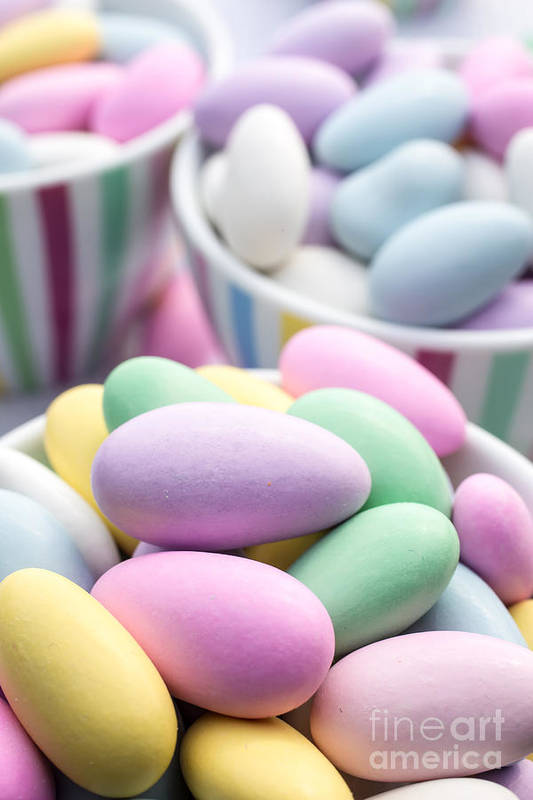 Food Art Print featuring the photograph Colorful Pastel Jordan Almond Candy by Edward Fielding