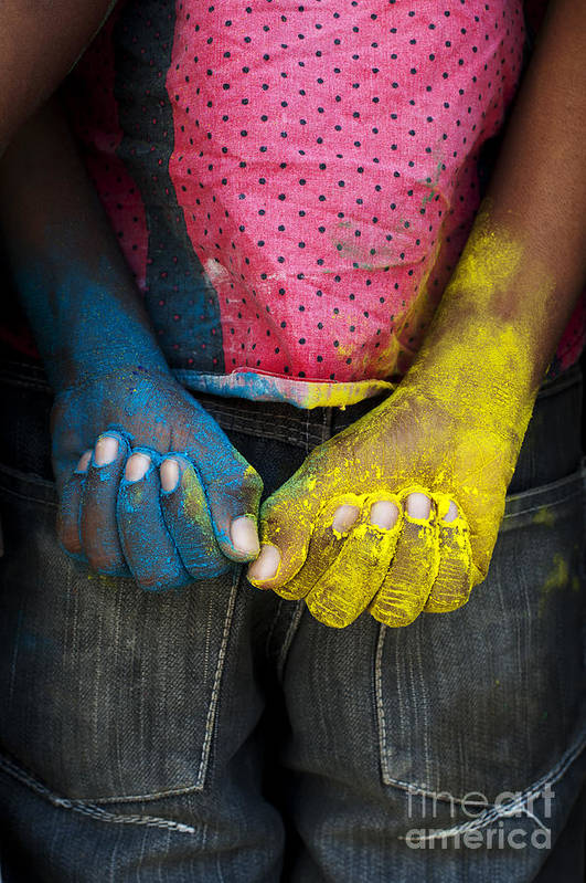Indian Boy Art Print featuring the photograph Coloured Hands by Tim Gainey