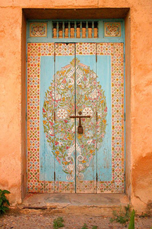 Door Art Print featuring the photograph Colourful Moroccan Entrance Door Sale Rabat Morocco by Ralph A Ledergerber-Photography