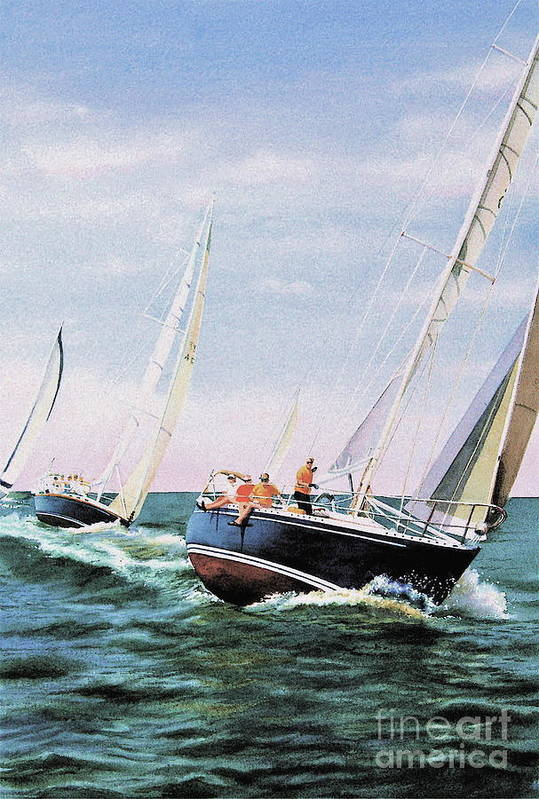 Sailboats Art Print featuring the painting Conquistador Cup by Karol Wyckoff