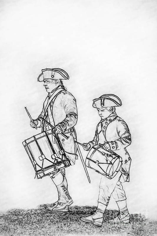 Continental Army Drummers Sketch Art Print featuring the digital art Continental Army Drummers Sketch by Randy Steele
