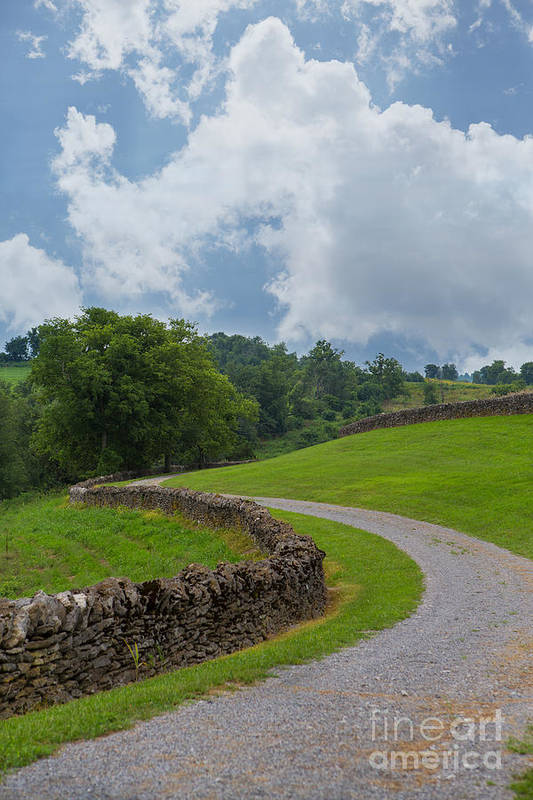 Kentucky Art Print featuring the photograph Country Road With Limestone Fence by Kay Pickens