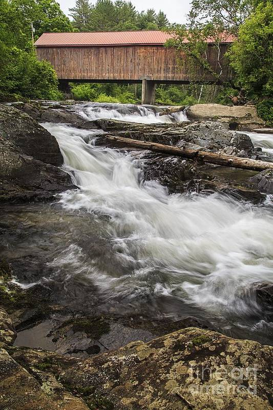 Vermont Art Print featuring the photograph Covered Bridge And Waterfall by Edward Fielding