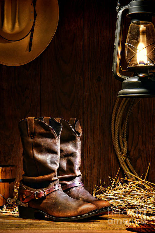 Western Art Print featuring the photograph Cowboy Boots At The Ranch by Olivier Le Queinec