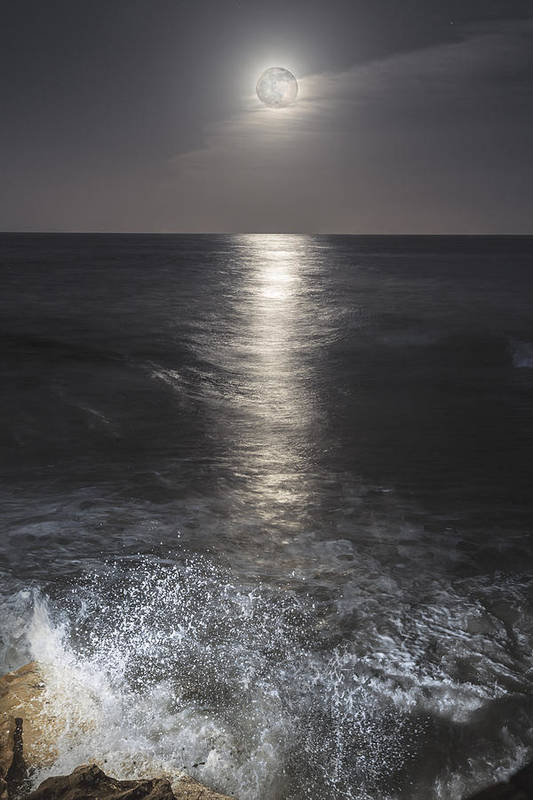 Moon Print featuring the photograph Crashing With The Moon by Bryan Toro