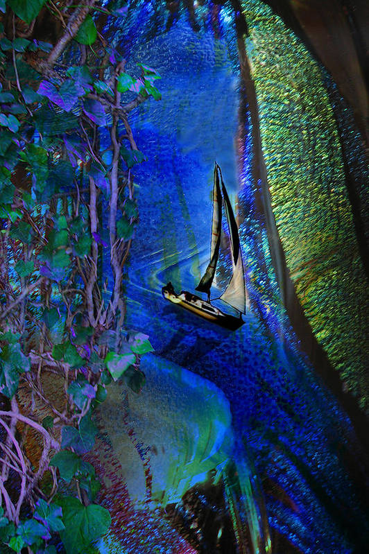 Dark River Art Print featuring the digital art Dark River by Lisa Yount