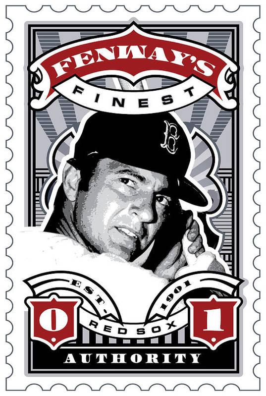 Ted Williams Art Print featuring the digital art Dcla Carl Yastrzemski Fenway's Finest Stamp Art by David Cook Los Angeles