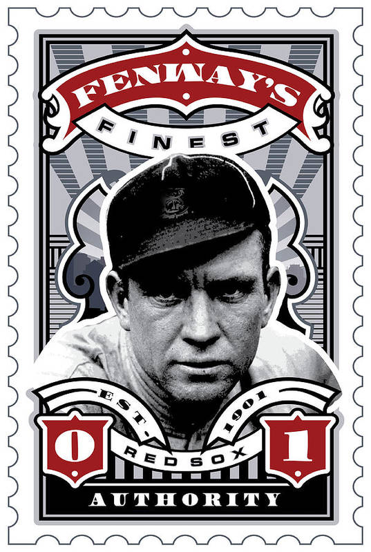 Ted Williams Art Print featuring the digital art Dcla Tris Speaker Fenway's Finest Stamp Art by David Cook Los Angeles