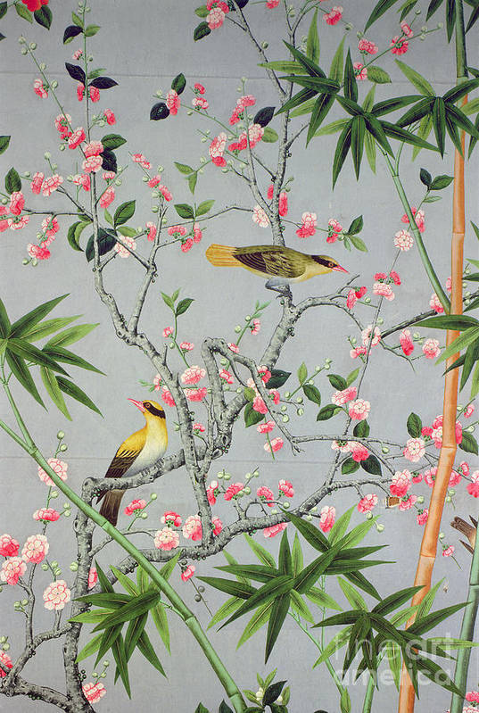 Bird Art Print featuring the tapestry - textile Detail Of The 18th Century Wallpaper In The Drawing Room Photograph by John Bethell