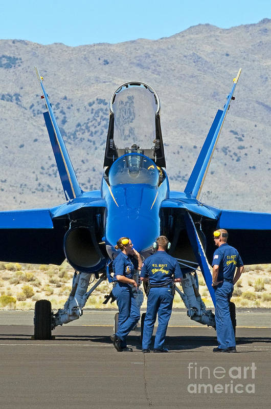 Blue Angels Art Print featuring the photograph Display Debrief- Blue Angels by Steve Rowland