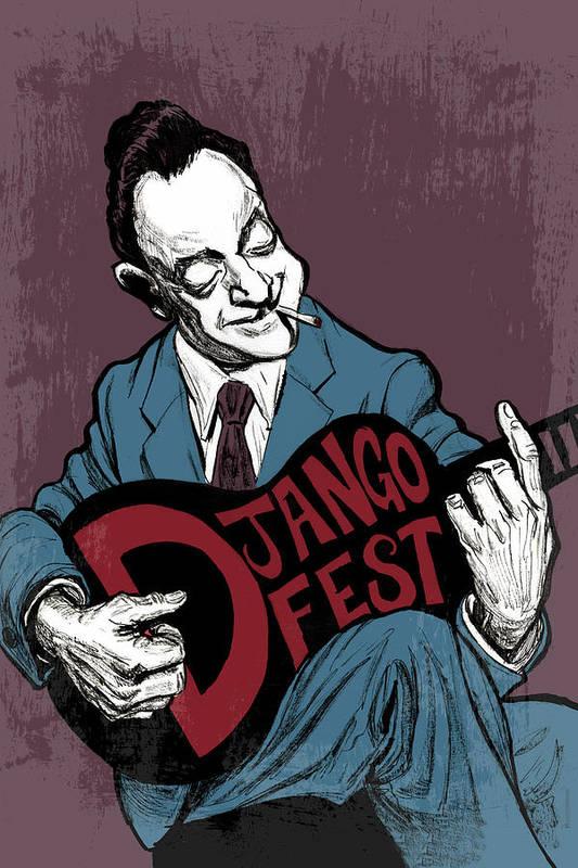 Django Art Print featuring the drawing Djangofest by Thomas Seltzer