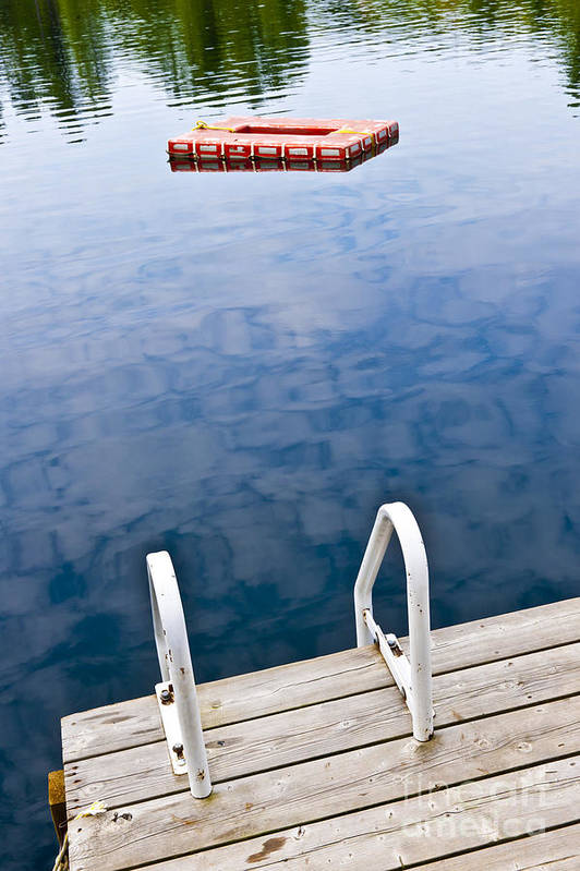 Dock Art Print featuring the photograph Dock On Calm Lake In Cottage Country by Elena Elisseeva