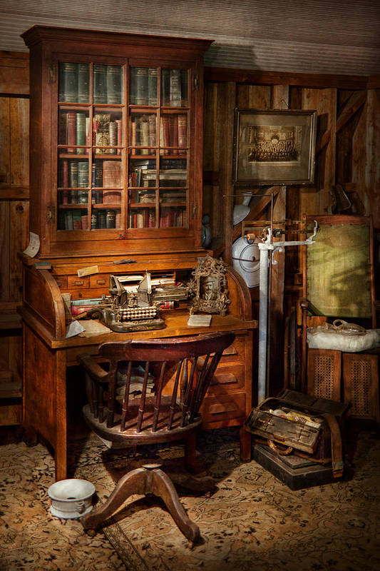 Doctor Art Print featuring the photograph Doctor - My Tiny Little Office by Mike Savad