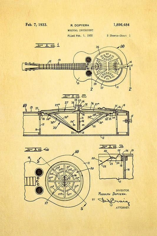 Famous Art Print featuring the photograph Dopyera Dobro Guitar Patent Art 1933 by Ian Monk