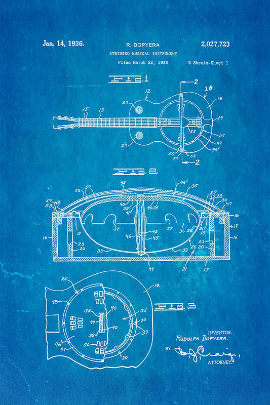 Men Art Print featuring the photograph Dopyera Resonator Guitar Patent Art 1936 Blueprint by Ian Monk
