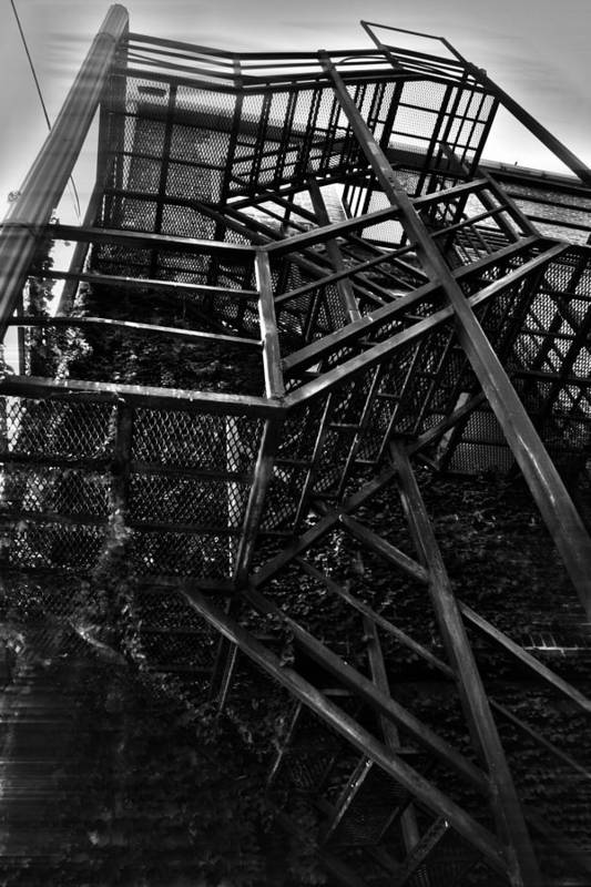 Black And White Photograph Art Print featuring the photograph Downtown Stairs by Kenal Louis