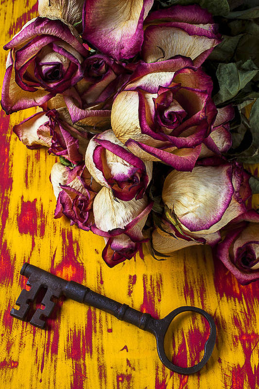Dried Art Print featuring the photograph Dried Pink Roses And Key by Garry Gay