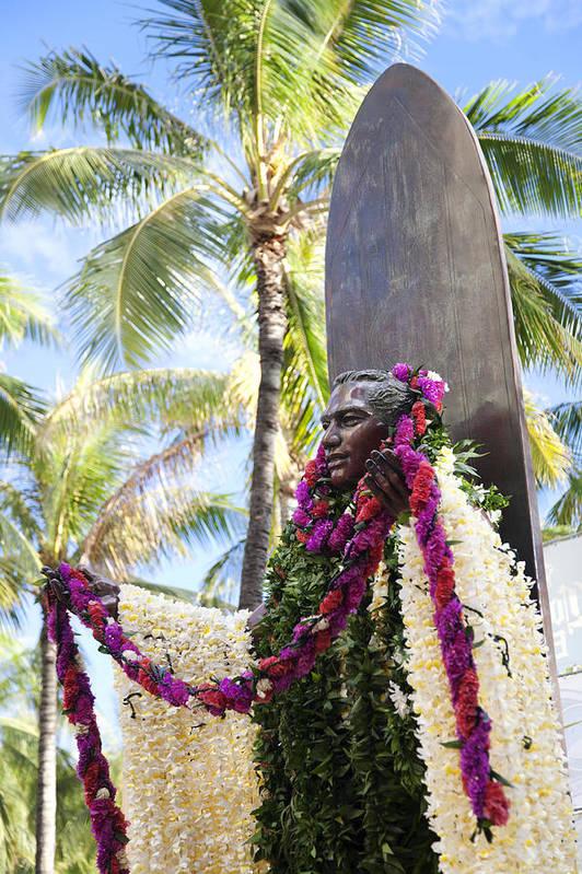 Aloha Print featuring the photograph Duke Kahanamoku Covered In Leis by Brandon Tabiolo