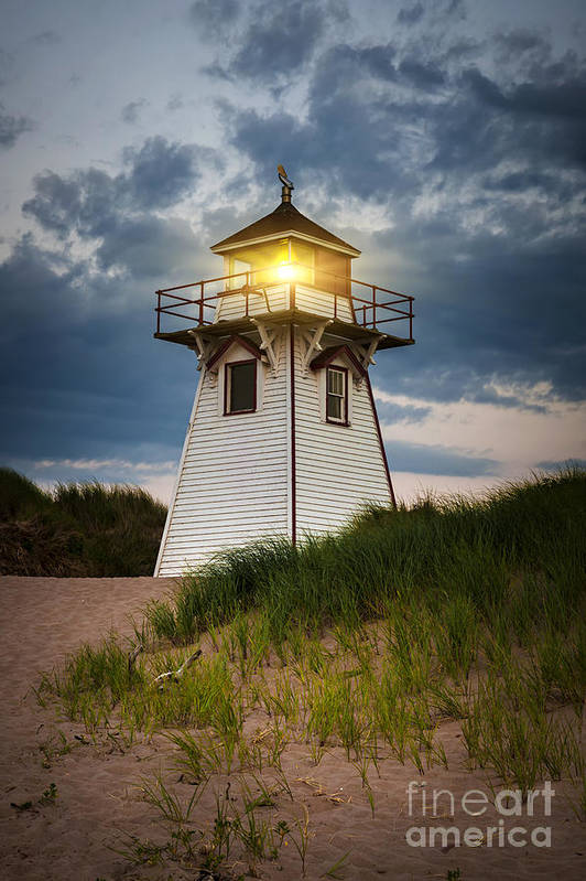 Sunset Art Print featuring the photograph Dusk At Covehead Harbour Lighthouse by Elena Elisseeva