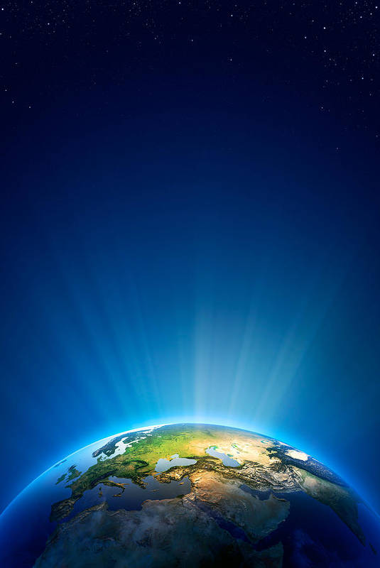 Earth Art Print featuring the photograph Earth Radiant Light Series - Europe by Johan Swanepoel
